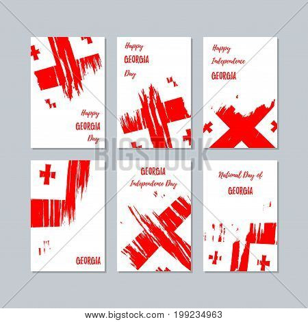 Georgia Patriotic Cards For National Day. Expressive Brush Stroke In National Flag Colors On White C