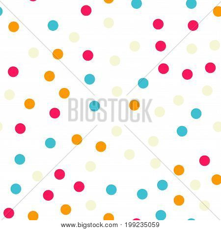 Colorful Polka Dots Seamless Pattern On Black 18 Background. Pretty Classic Colorful Polka Dots Text