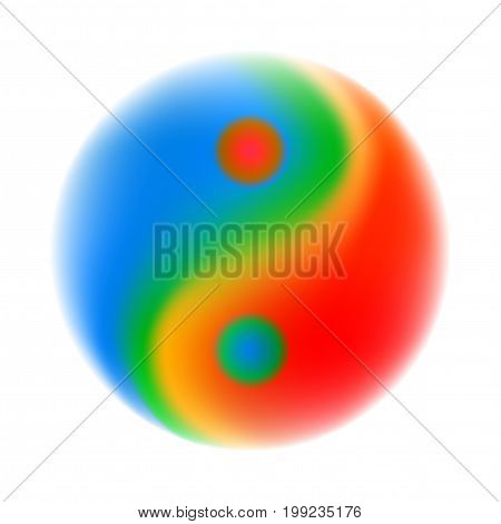 Blurred colourful Yin Yang symbol, isolated vector