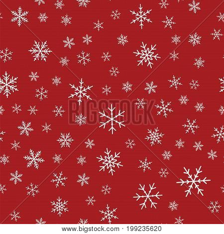 White Snowflakes Seamless Pattern On Red Christmas Background. Chaotic Scattered White Snowflakes. E