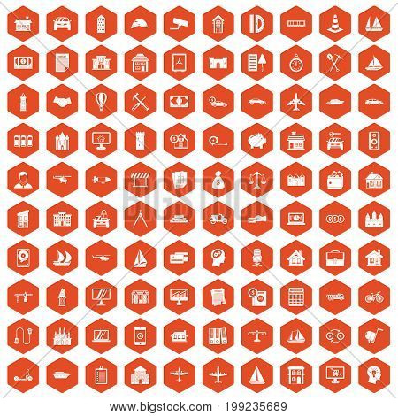 100 private property icons set in orange hexagon isolated vector illustration