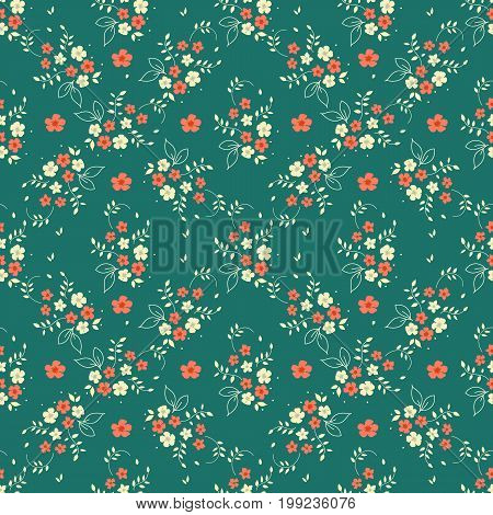 Seamless floral pattern millefleurs red white flower bouquet leaves sprigs arranged in diamond shape ornament on dark green background fabric tapestry quilting