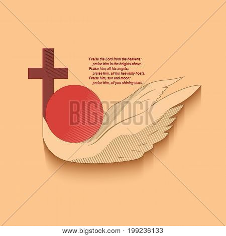 Christian religious emblem symbolizing the salvation of mankind from sin. The Christian cross, the sun and the wings of a bird on a light background.