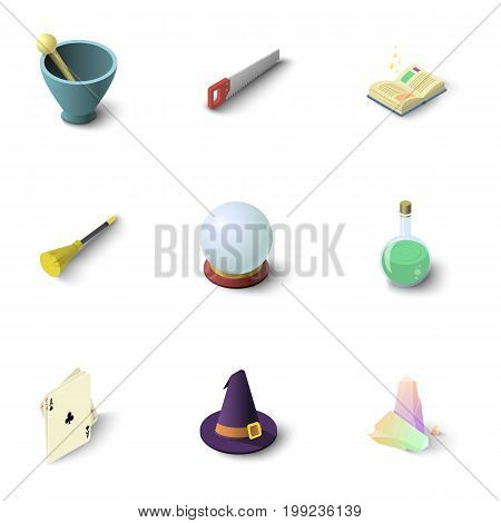 Wizard stuff icons set. Isometric set of 9 wizard stuff vector icons for web isolated on white background
