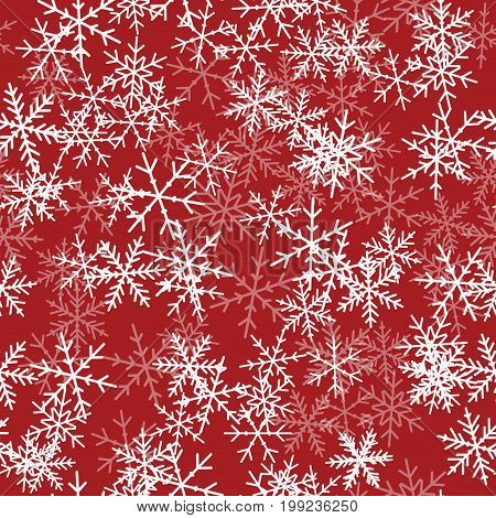 White Snowflakes Seamless Pattern On Red Christmas Background. Chaotic Scattered White Snowflakes. C