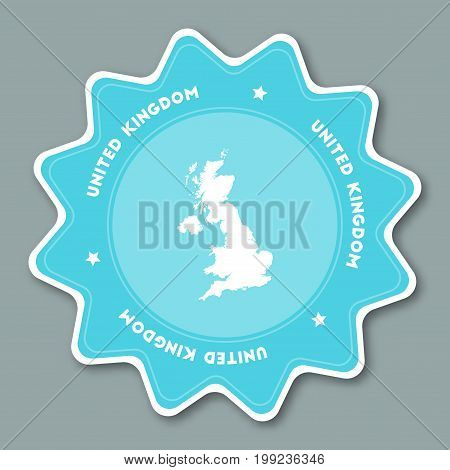 United Kingdom Map Sticker In Trendy Colors. Star Shaped Travel Sticker With Country Name And Map. C