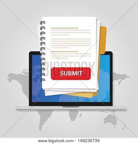 submit document online via laptop with red button via internet upload application form resume white paper vector