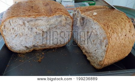 Home made bread made of integral flour