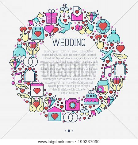 Wedding invitation concept in circle with thin line icons of dove, camera, photographer, bride, dress, balloons. Vector illustration for banner, web page, print media.