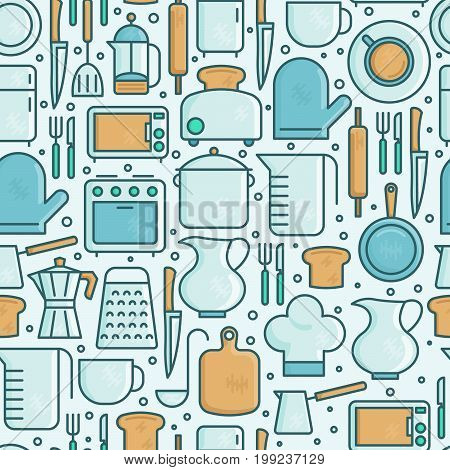 Kitchen equipment and tableware seamless pattern with thin line icons set. Vector illustration for cooking recipes, menu, shop, web site, app.