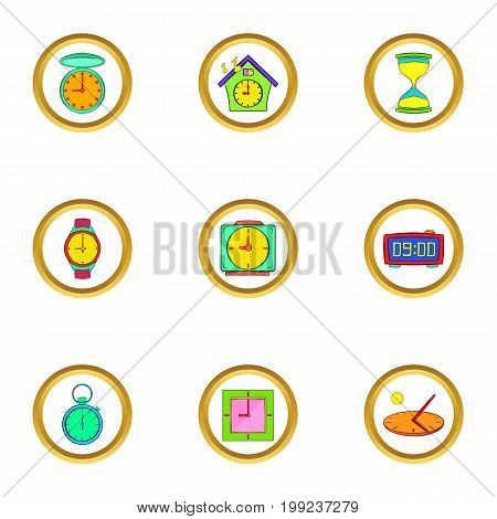 Timers and watches icons set. Cartoon set of 9 timers and watches vector icons for web isolated on white background