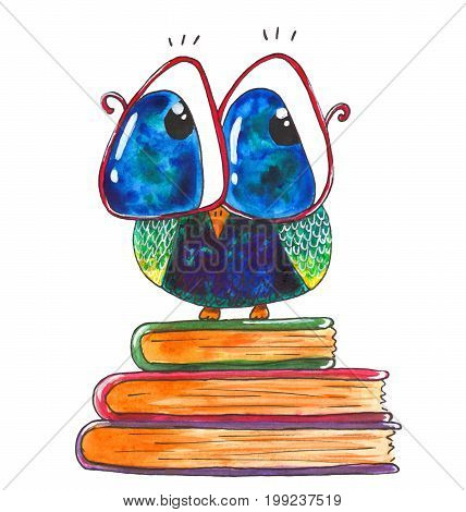 Cute cartoon watercolor owl with books isolated on white background
