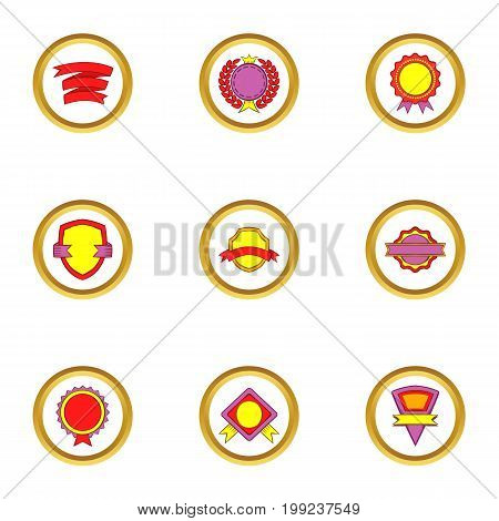 Trendy label icons set. Cartoon set of 9 trendy label vector icons for web isolated on white background