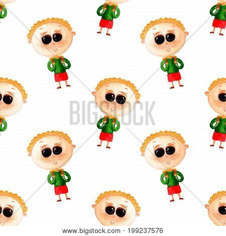 Seamless pattern with schoolboys on white background