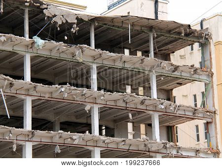 The Empty Shell of a Building Being Demolished.