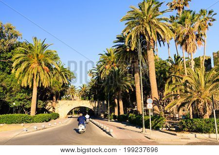 Road in Kos town near Neratzia Castle and port.