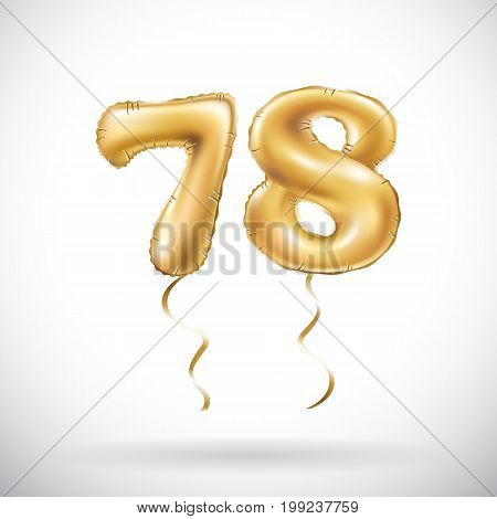 Vector Golden Number 78 Seventy Eight Metallic Balloon. Party Decoration Golden Balloons. Anniversar