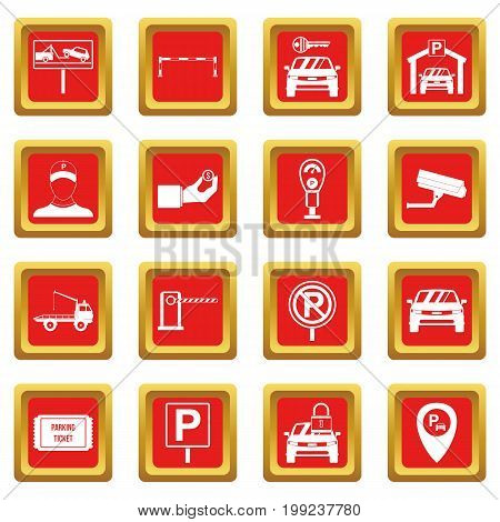 Parking set icons set in red color isolated vector illustration for web and any design