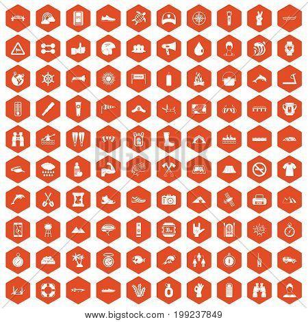 100 rafting icons set in orange hexagon isolated vector illustration