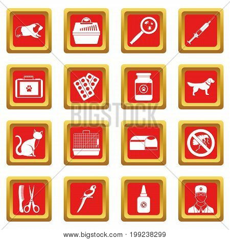Veterinary icons set in red color isolated vector illustration for web and any design