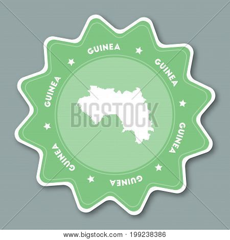 Guinea Map Sticker In Trendy Colors. Star Shaped Travel Sticker With Country Name And Map. Can Be Us