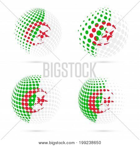 Algeria Halftone Flag Set Patriotic Vector Design. 3D Halftone Sphere In Algeria National Flag Color