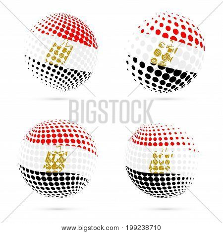 Egypt Halftone Flag Set Patriotic Vector Design. 3D Halftone Sphere In Egypt National Flag Colors Is