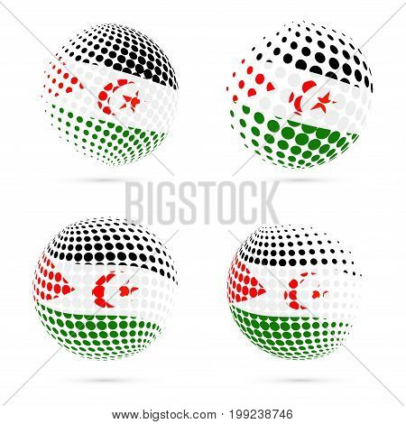 Western Sahara Halftone Flag Set Patriotic Vector Design. 3D Halftone Sphere In Western Sahara Natio