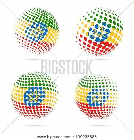 Ethiopia Halftone Flag Set Patriotic Vector Design. 3D Halftone Sphere In Ethiopia National Flag Col