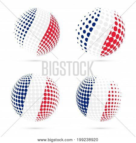 France Halftone Flag Set Patriotic Vector Design. 3D Halftone Sphere In France National Flag Colors