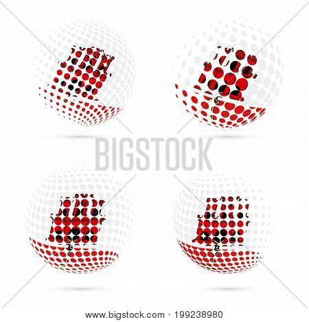 Gibraltar Halftone Flag Set Patriotic Vector Design. 3D Halftone Sphere In Gibraltar National Flag C