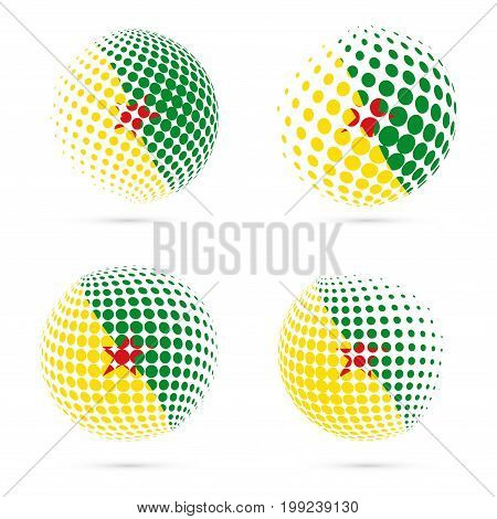 Guiana Halftone Flag Set Patriotic Vector Design. 3D Halftone Sphere In Guiana National Flag Colors