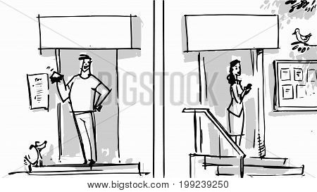 Happy man and woman walking out from the front door. Vector lifestyle concepts