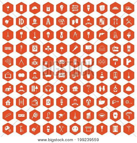 100 renovation icons set in orange hexagon isolated vector illustration