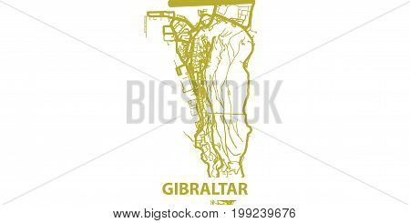 Detailed vector map of Gibraltar in gold with title, scale 1:30 000, UK