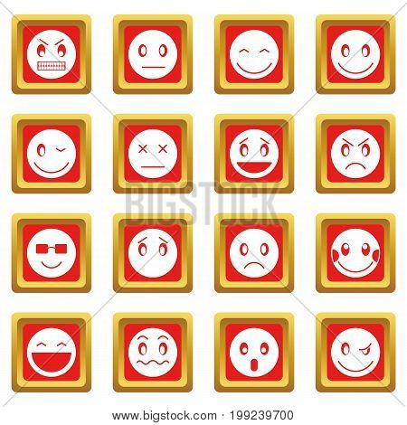 Emoticon icons set in red color isolated vector illustration for web and any design