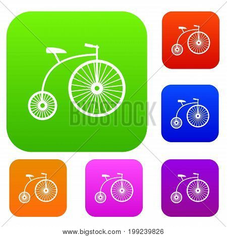 Penny-farthing set icon in different colors isolated vector illustration. Premium collection