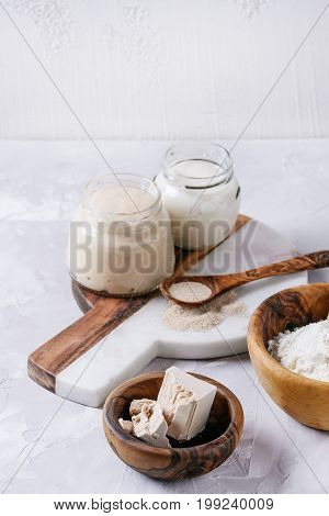 Rye and wheat sourdough in glass jars, fresh and instant yeast, olive wood bowl of flour for baking homemade bread. With spoon, serving board over gray concrete background.