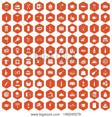 100 restaurant icons set in orange hexagon isolated vector illustration