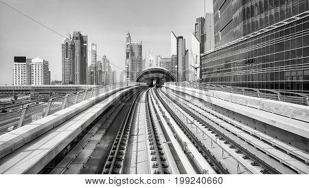 Black And White Picture Of Dubai City, Uae.