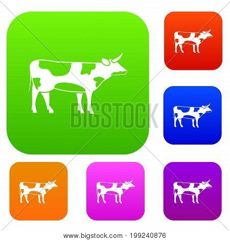 Switzerland cow set icon in different colors isolated vector illustration. Premium collection