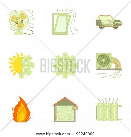 Cooling system icons set. Cartoon set of 9 cooling system vector icons for web isolated on white background