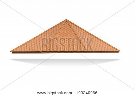 Roof with brown spire isolated on white background File contains a clipping path.