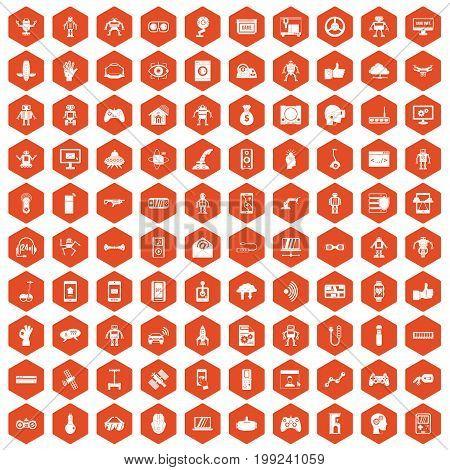 100 robot icons set in orange hexagon isolated vector illustration
