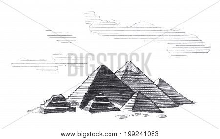 Great Pyramids of Egypt Graphic linear tonal drawing by slate pencil. Isolated on white background