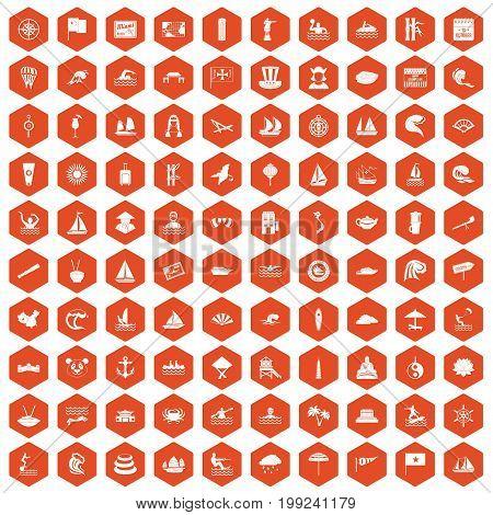 100 sailing vessel icons set in orange hexagon isolated vector illustration