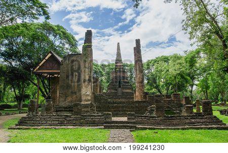 landscape of Wat Nang Phaya Sukhothai historical park world heritage the landmark of Thailand