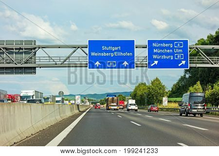 Weinsberg Germany - June 28 2017: Highway A6 / A81 (Autobahn) near town Weinsberg interchange