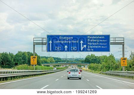 Weinsberg Germany - June 28 2017: Highway A81 (Autobahn) near town Pleidelsheim exit Freiberg / Marbach (Neckar) / Steinheim (Murr) - direction Stuttgart / Ludwigsburg