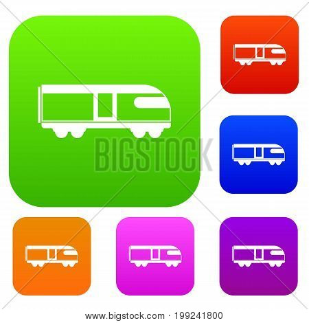 Swiss mountain train set icon in different colors isolated vector illustration. Premium collection